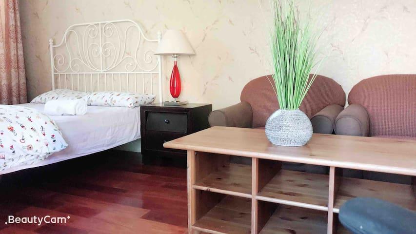 客厅床位,可以放2张大床,1张单人床,免费Wifi,免费停车
