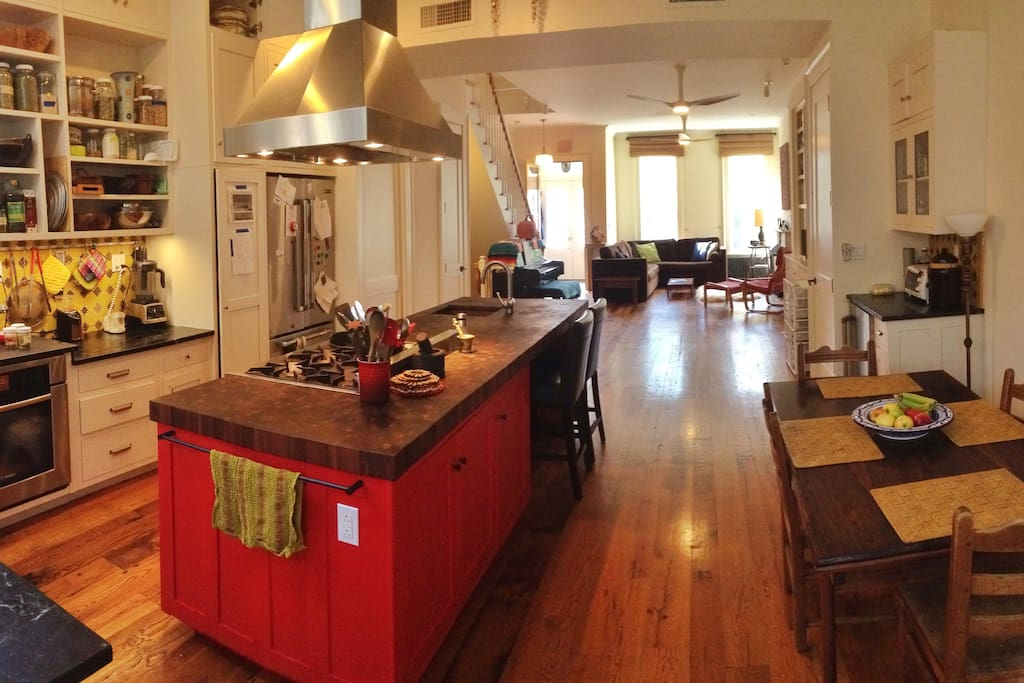 Parlor floor — Open plan cook's kitchen and living room.