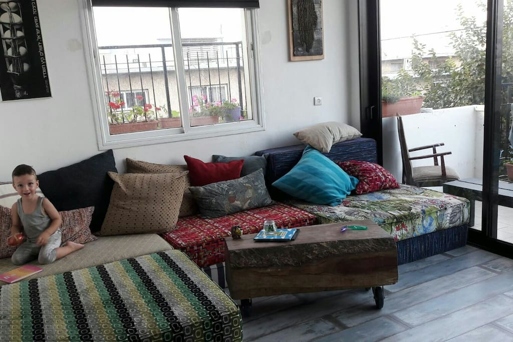 living room can be open as a big bed for 4 adults