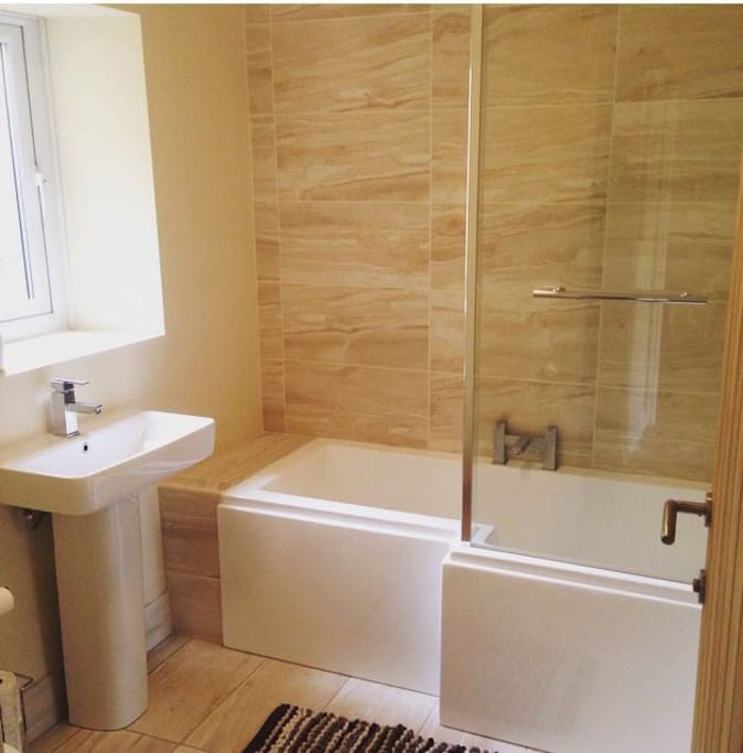 Newly refurbished bathroom with shower