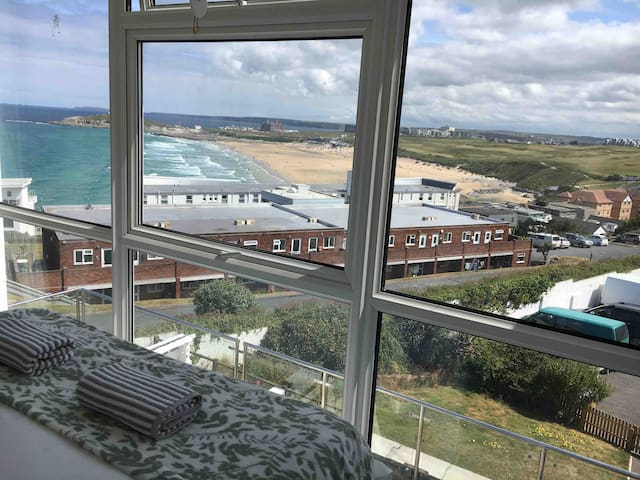 Fistral beach views with pool