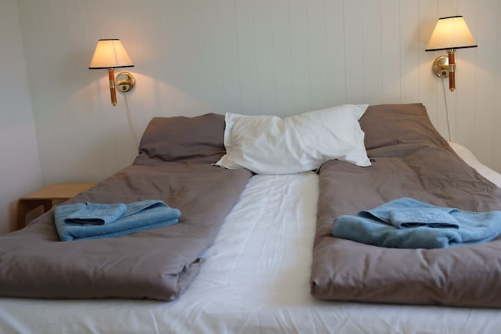 Bed room 3. Dubble bed or you can separate into two single beds.  One bed is firm the other is medium hard.