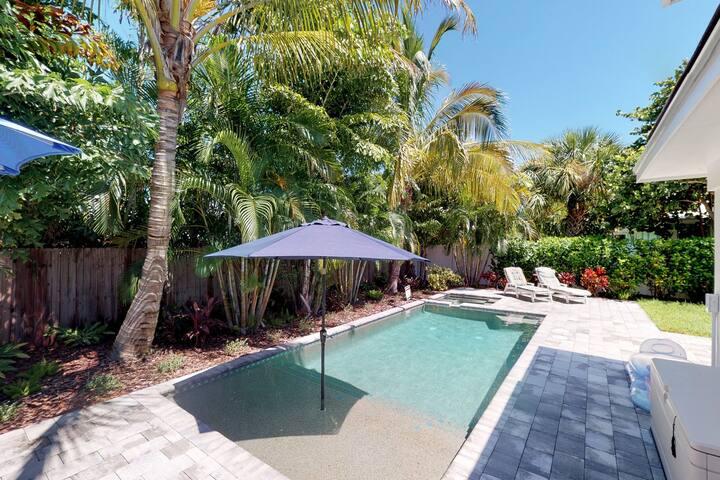 Renovated home w/ private pool, spa, & island views - close to the beach!