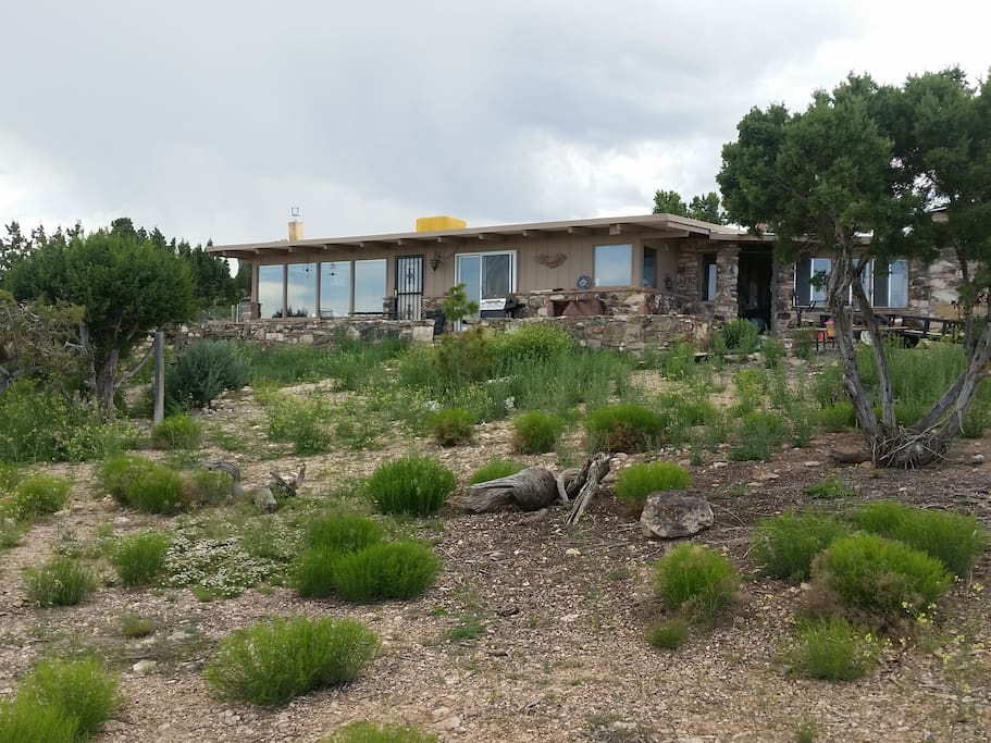 The front yard is natural landscape.  There is a total of 2 acres surrounding the house.