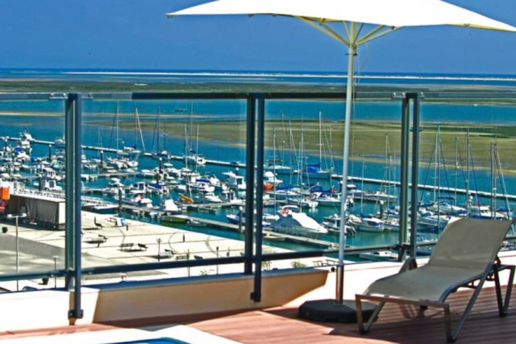 astonishing view from the terrace Pool. That's Ria Formosa Natural Park and Olhão Marina