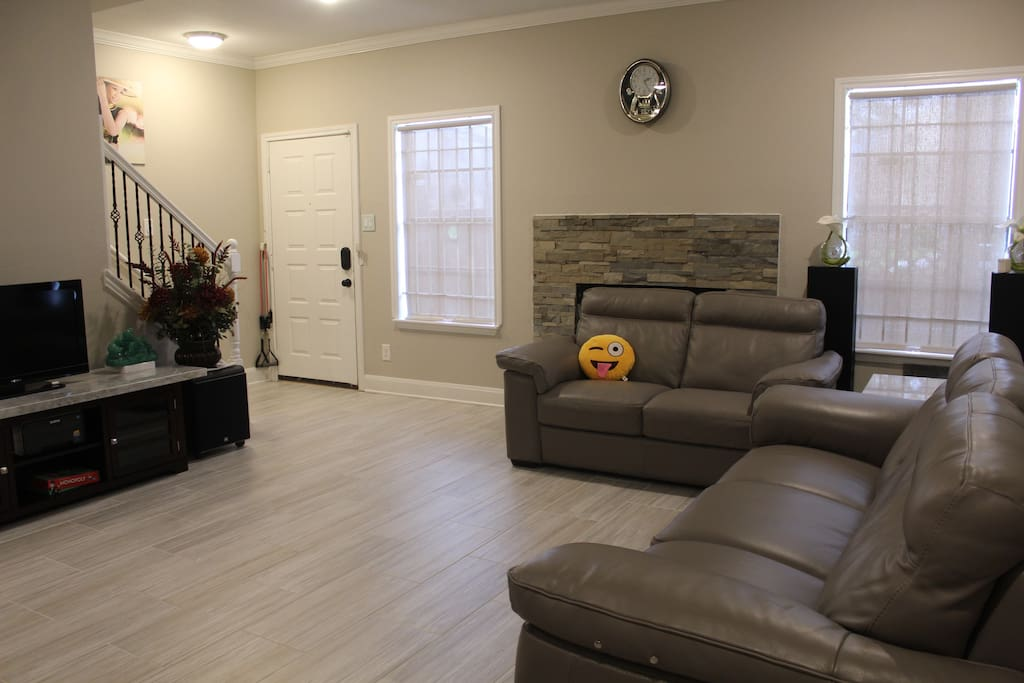 Living room with sofa/entertainment center