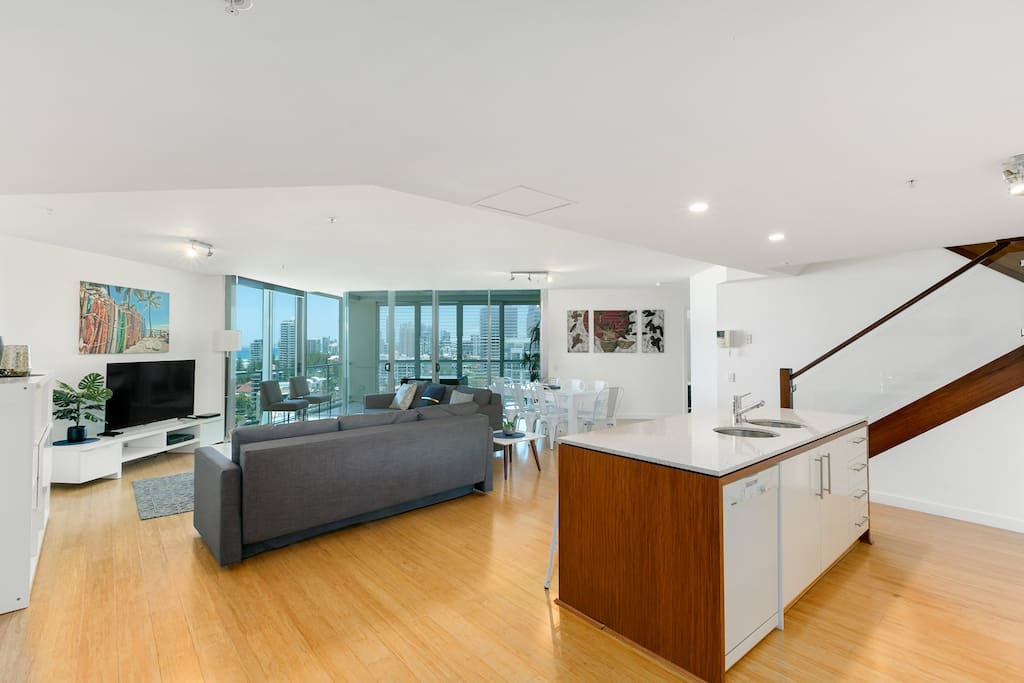 Lovely kitchen living and dining area with ocean views