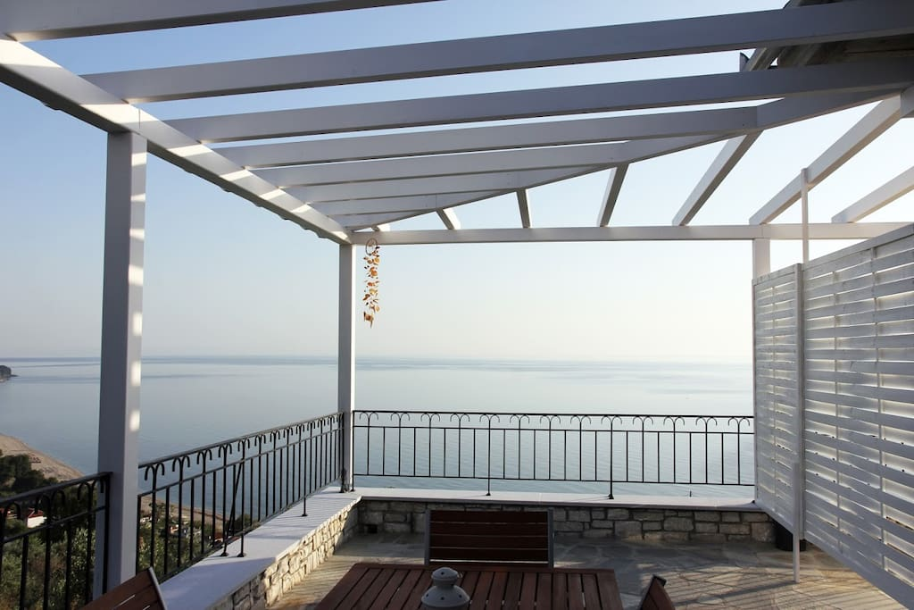 The terrace of the apartment. Exterior furnitures and great view to relax your senses