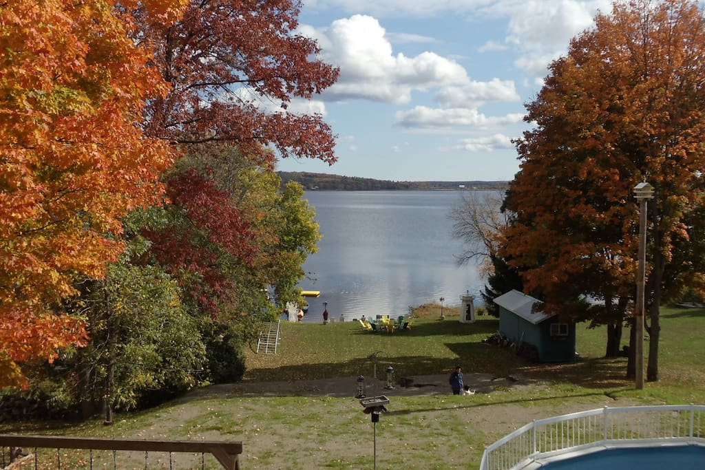 The view over the pool and beach 2 1/2 k across Stoco Lake to the edge of the Canadian shield