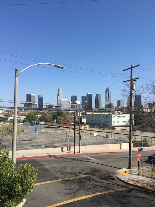 From the balcony, you can view the Downtown Skyline