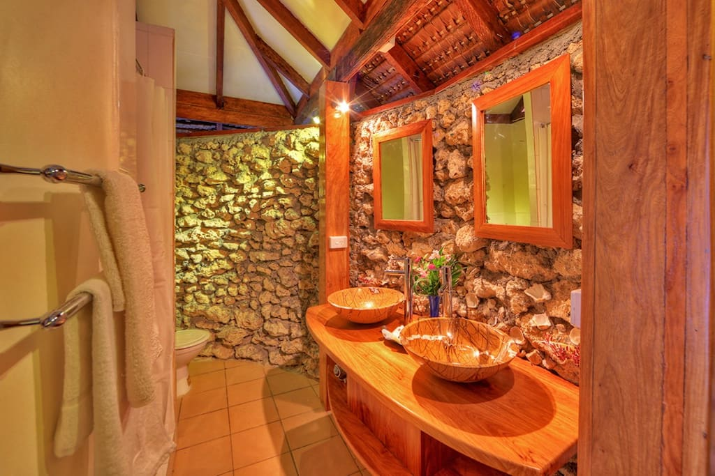 Coral Bathroom with Rainshower