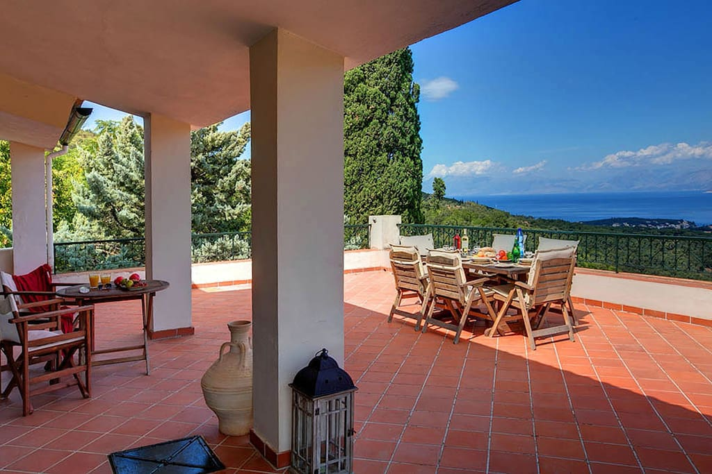 The 75sq.m  terrace with breathtaking views over Kassiopi