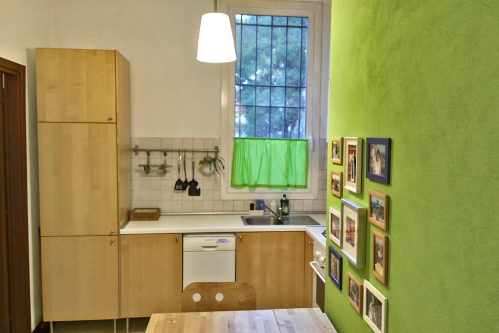 Zona giorno con angolo cucina