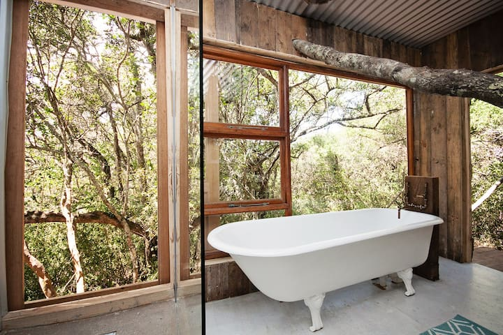 French doors that can open while you shower