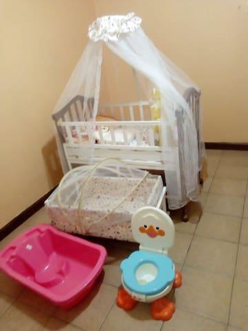 Baby Crib plus cute little baby essentials