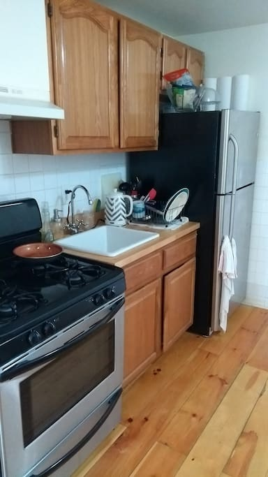 Fairly new stainless steel appliances plus all of the kitchen items you need.