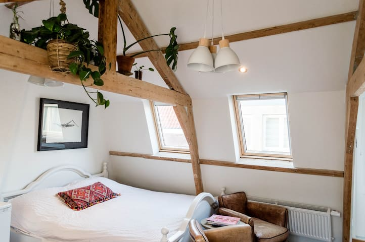 Cozy attic ctr near Amsterdam & the beach.