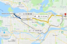 1 h 10 min by skytrain or 40 min drive to Downtown Vancouver