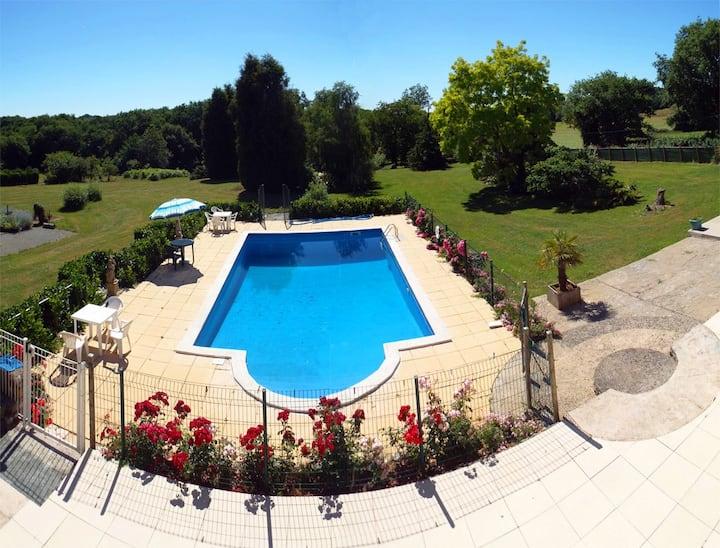2 bedroom gite, outdoor pool & indoor heated pool
