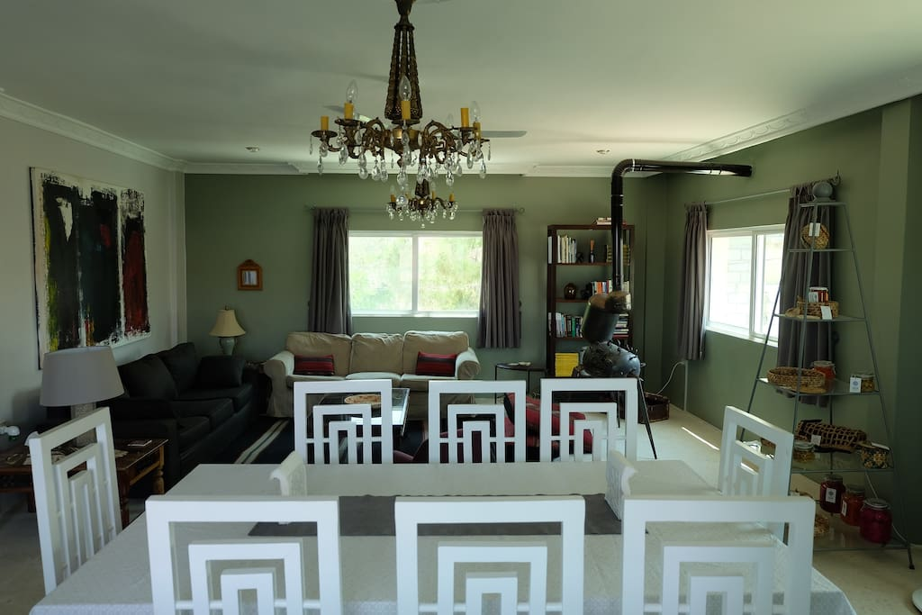 Dining room table and living room.