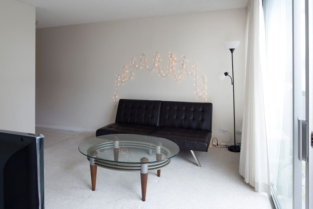 Living room with Full size futon sofa bed