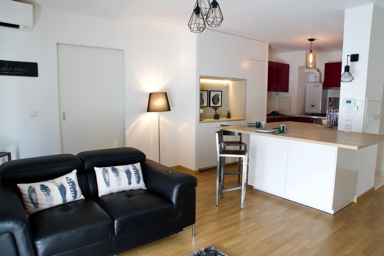 Espace salon cuisine 25 m2