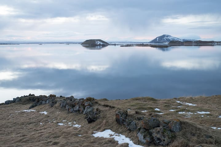 Stop and enjoy the view of Myvatn when you turn in to the house from the main road