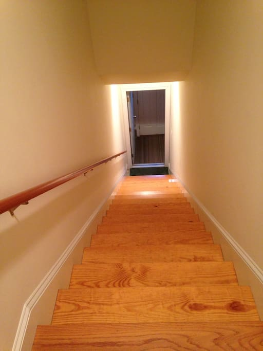 Stairway down to garage