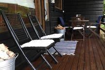 The sauna terrace and relaxing after sauna!