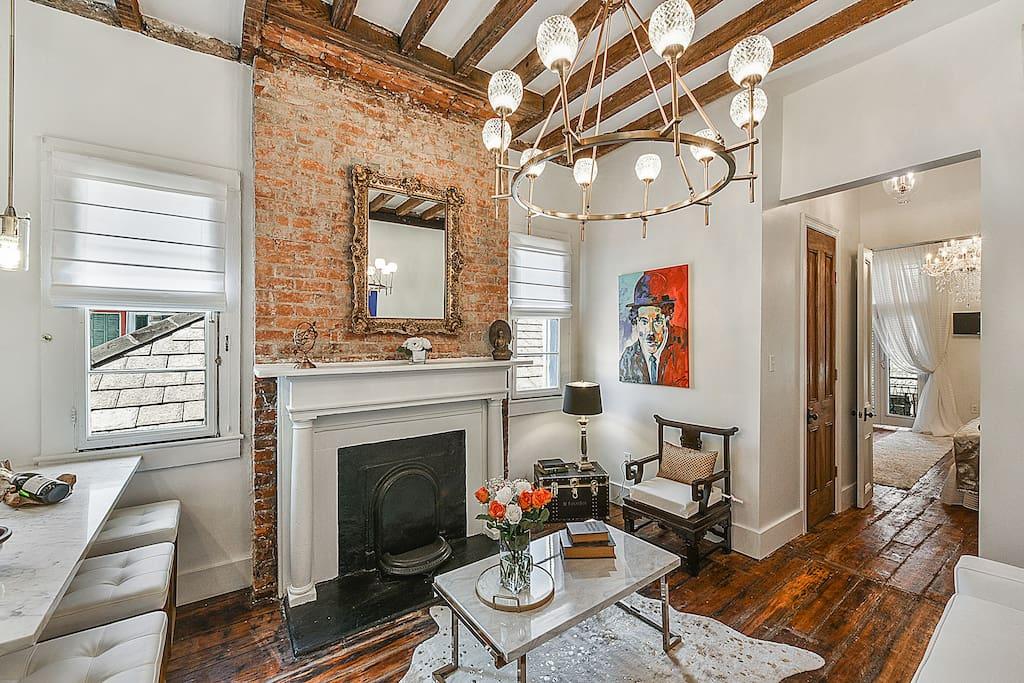 Beautiful light fixtures eliminate the living area in elegance