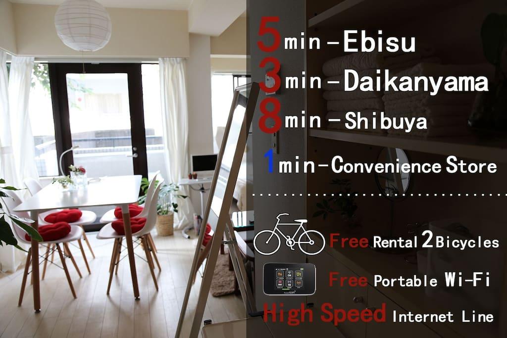 Best of Best Location, Ebisu, Shibuya and Daikanyama.