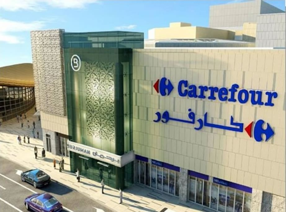 Carrefour & mall are so close walking distance to our flat
