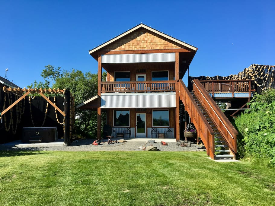 Fireweed is located on the first floor. Fireweed's private hot tub is located to the left.