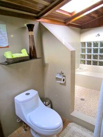 Private bathroom with huge shower