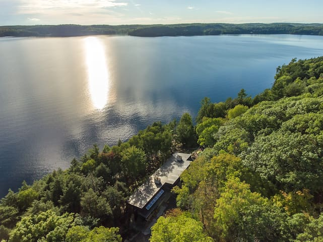An aerial shot shows the amazing long lake views