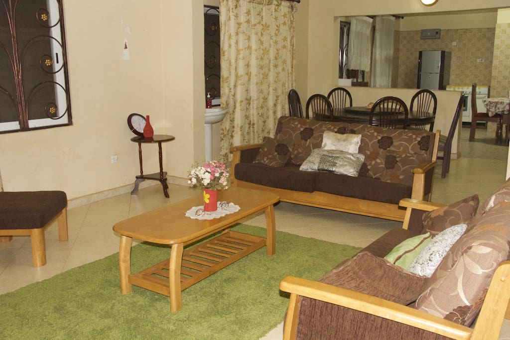 A spacious open floor plan for the living room, dining and kitchen. All fully furnished.