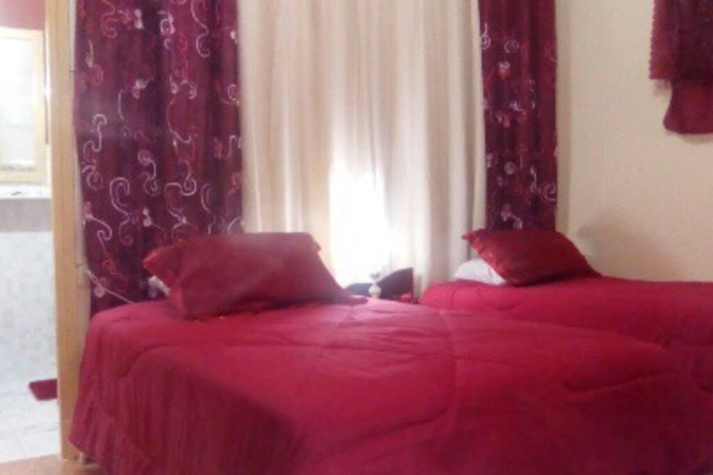Habitación con 2 camas 3/4 ,sofá cama y baño privado