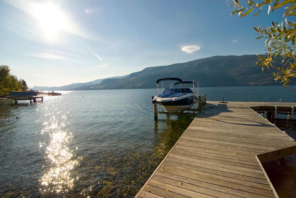 This dock and lake is wating for you.    The dock continues to the right, where another boat lift is waiting for your use should you wish to bring a water craft of some kind that could use it (up to about 22 ft/5000 lbs.)