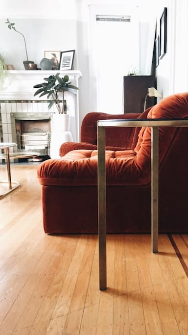 70s velvet sofa, perfect for curling up with a good book