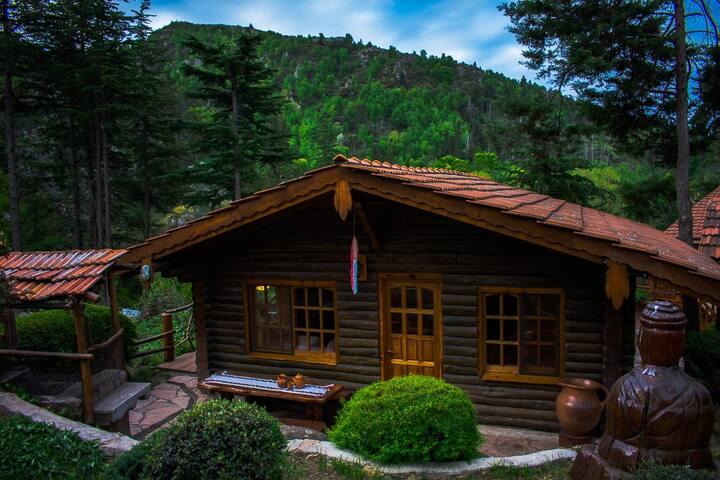 Cabaña de troncos para 2 a 5 personas.