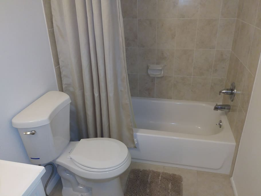 Clean bathroom, with new soap per client, clean bath linen included.