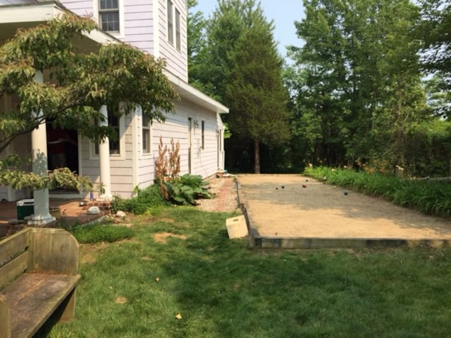 Bocce Ball court and outdoor shower