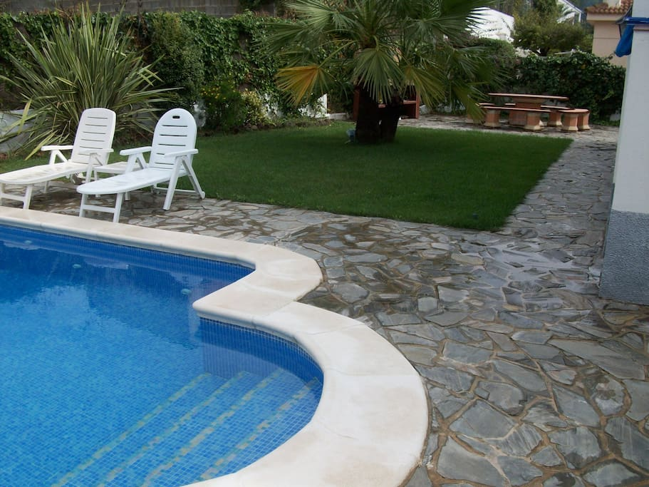 Swimming pool, lawn and bbq