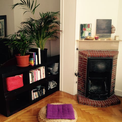Chimney and book space (unfortunately we can't use the chimney)