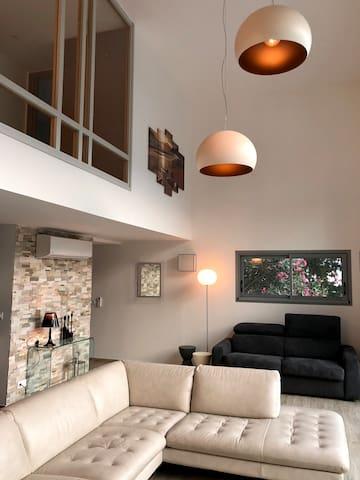 Grande pièce à vivre.avec canapé lit (ouverture 5 sec)