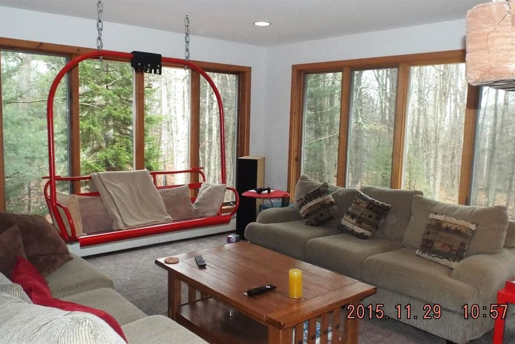 The living room with its own chairlift