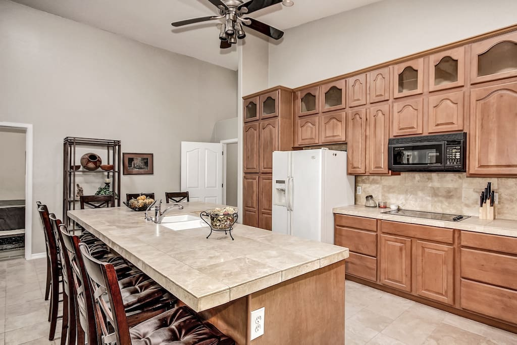 kitchen island (oven is a microwave convection oven)