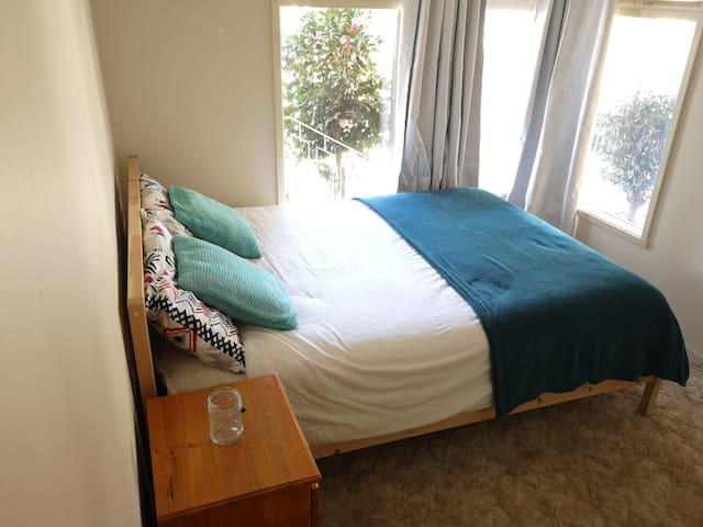 Sunny clean room, vintage house modern amenities