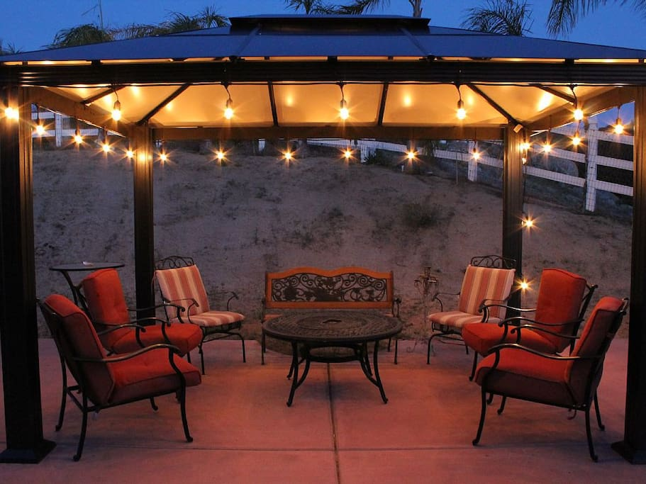 Sitting under the beautiful Gazebo with ambiant lighting adds the outdoor experience.