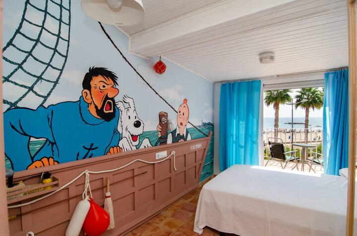 Alojamiento con terraza en primera linea de playa